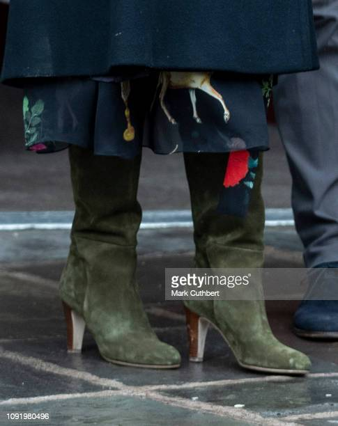 Meghan Duchess of Sussex boot detail visits the Bristol Old Vic and meets members of the public gathered outside on February 1 2019 in Bristol England