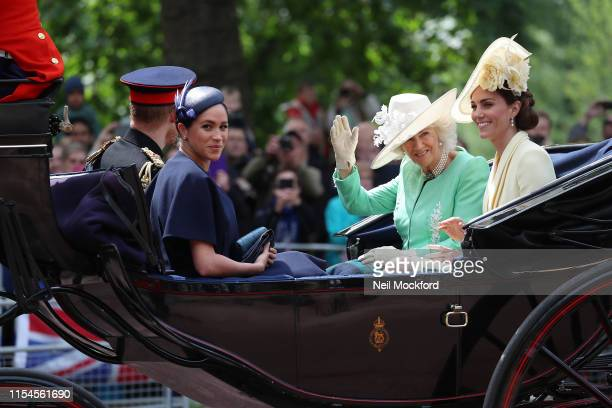 Meghan, Duchess of Sussex, Camilla, Duchess of Cornwall and Catherine, Duchess of Cambridge during Trooping The Colour, the Queen's annual birthday...
