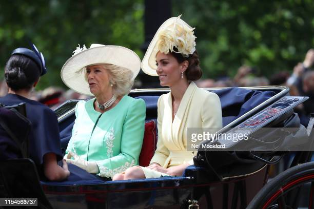 Meghan Duchess of Sussex Camilla Duchess of Cornwall and Catherine Duchess of Cambridge during Trooping The Colour the Queen's annual birthday parade...