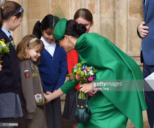 Meghan Duchess of Sussex departs after attending the Commonwealth Day Service 2020 at Westminster Abbey on March 09 2020 in London England