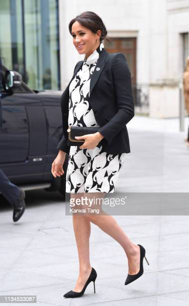Meghan, Duchess of Sussex departs after joining a panel discussion convened by The Queen's Commonwealth Trust to mark International Women's Day at...