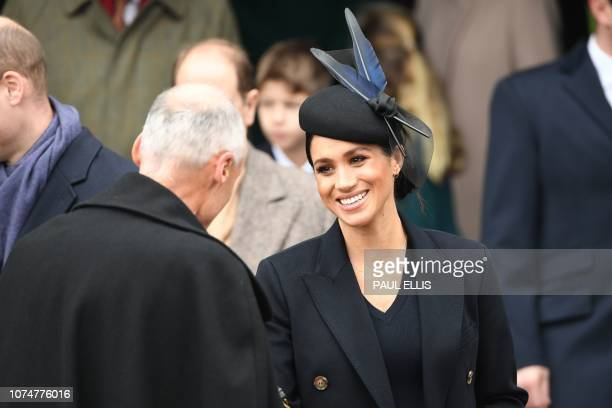 Meghan Duchess of Sussex departs after the Royal Family's traditional Christmas Day service at St Mary Magdalene Church in Sandringham Norfolk...