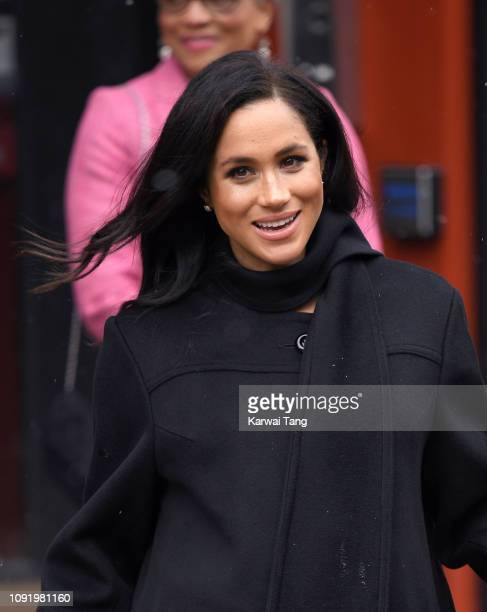 Meghan Duchess of Sussex departs after visiting Bristol Old Vic on February 1 2019 in Bristol England