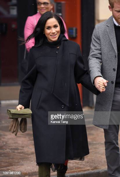 Meghan, Duchess of Sussex departs after visiting Bristol Old Vic on February 1, 2019 in Bristol, England.