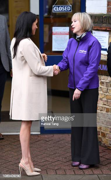 Meghan Duchess Of Sussex departs after visiting Mayhew Animal Welfare Charity on January 16 2019 in London England This will be Her Royal Highness's...