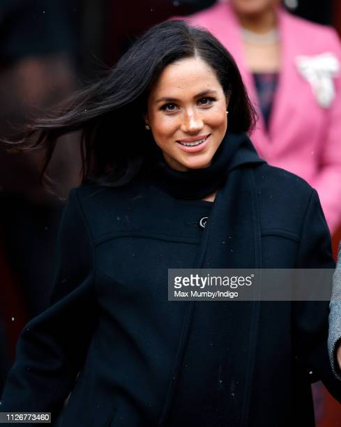 Meghan Duchess of Sussex departs after visiting the Bristol Old Vic on February 1 2019 in Bristol England