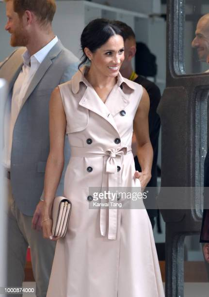 Meghan Duchess of Sussex departs after visiting the Nelson Mandela Centenary Exhibition at Southbank Centre on July 17 2018 in London England