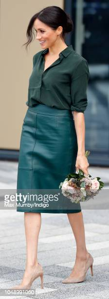 Meghan Duchess of Sussex departs after visiting the University of Chichester's Engineering and Technology Park on October 3 2018 in Bognor Regis...