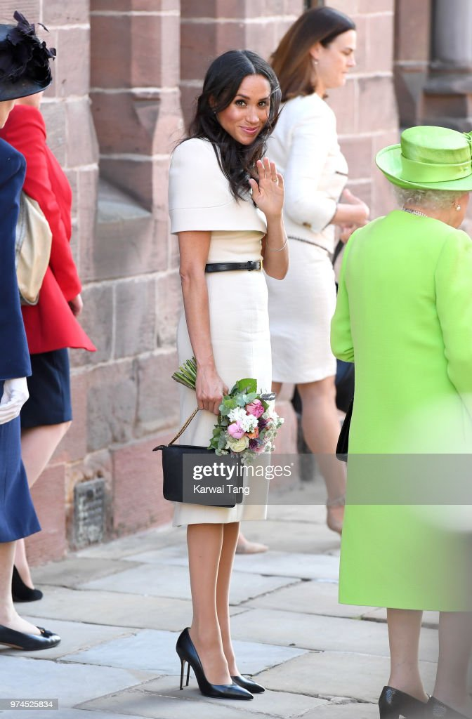 Meghan, Duchess of Sussex departs Chester Town Hall, where she attended lunch with Queen Elizabeth II as guests of Chester City Council on June 14, 2018 in Chester, England. Meghan Markle married Prince Harry last month to become The Duchess of Sussex and this is her first engagement with the Queen. During the visit the pair opened a road bridge in Widnes and visited The Storyhouse in Chester.