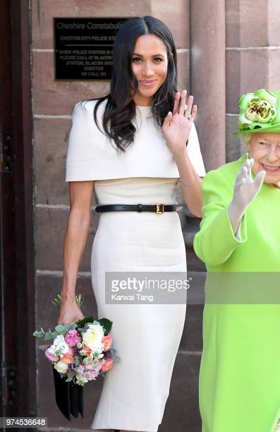 Meghan Duchess of Sussex departs Chester Town Hall where she attended lunch with Queen Elizabeth II as guests of Chester City Council on June 14 2018...