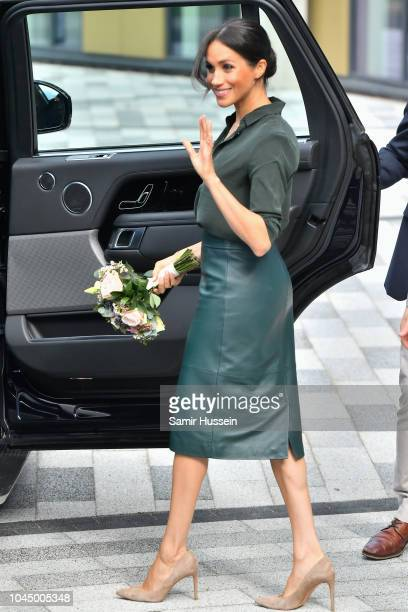 Meghan Duchess of Sussex departs from the University of Chichester's Engineering and Digital Technology Park during an official visit to Sussex on...