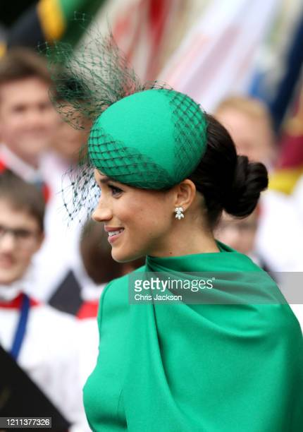 Meghan Duchess of Sussex departs the Commonwealth Day Service 2020 at Westminster Abbey on March 09 2020 in London England The Commonwealth...