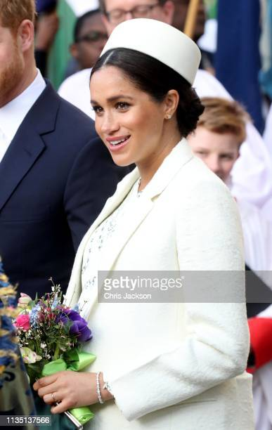 Meghan Duchess of Sussex departs the Commonwealth Service on Commonwealth Day at Westminster Abbey on March 11 2019 in London England The...