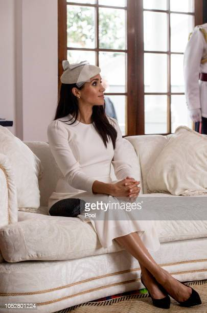 Meghan Duchess of Sussex during a meeeting with President of Fiji Jioji Konrote on the first day of their tour to Fiji on October 23 2018 in Suva...
