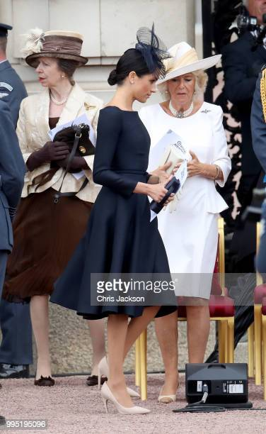 Meghan Duchess of Sussex during the RAF 100 ceremony at Buckingham Palace as members of the Royal Family attend events to mark the centenary of the...