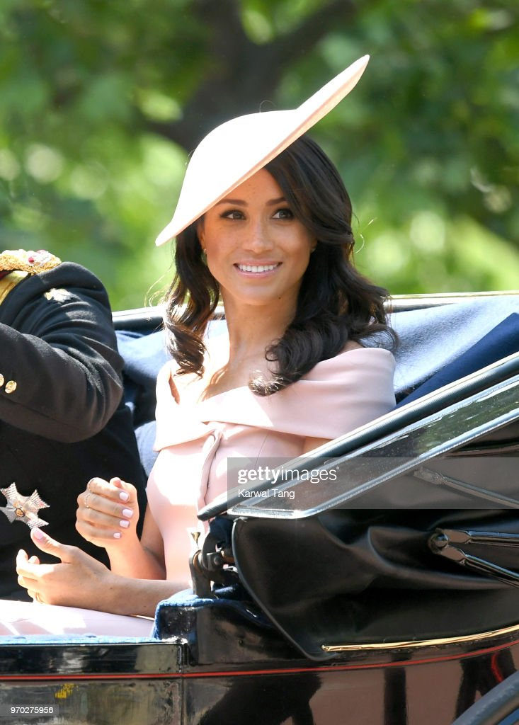 Meghan, Duchess of Sussex during Trooping The Colour 2018 at The Mall on June 9, 2018 in London, England. The annual ceremony involving over 1400 guardsmen and cavalry, is believed to have first been performed during the reign of King Charles II. The parade marks the official birthday of the Sovereign, even though the Queen's actual birthday is on April 21st.