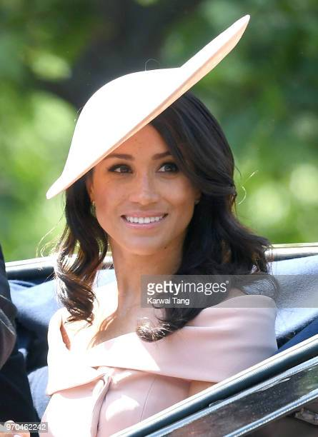 Meghan Duchess of Sussex during Trooping The Colour 2018 at The Mall on June 9 2018 in London England The annual ceremony involving over 1400...
