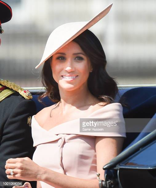 Meghan Duchess of Sussex during Trooping The Colour 2018 at Various Locations on June 9 2018 in London England