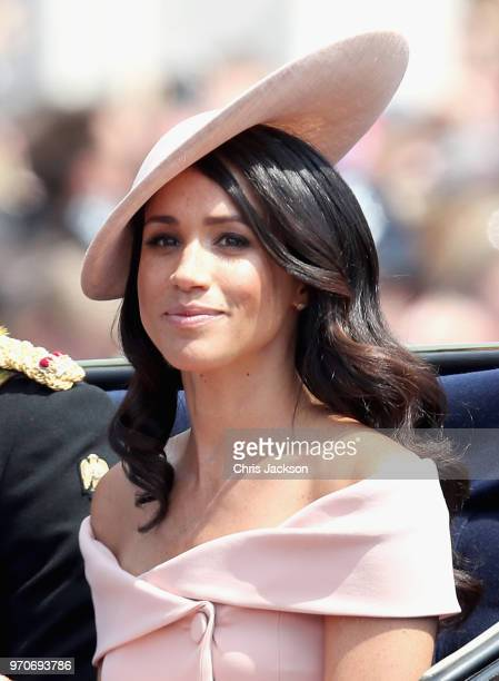 Meghan Duchess of Sussex during Trooping The Colour on the Mall on June 9 2018 in London England The annual ceremony involving over 1400 guardsmen...