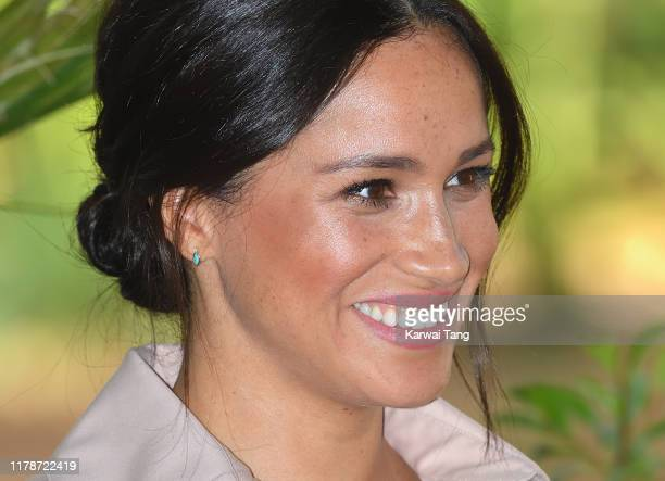 Meghan, Duchess of Sussex, earring detail, accompanied by Prince Harry, Duke of Sussex attends a reception to celebrate the UK and South Africa's...