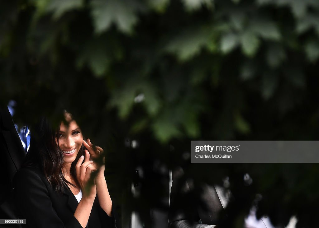 Meghan, Duchess of Sussex enjoys a walkabout with her husband Prince Harry, Duke of Sussex as they visit the Dogpatch Labs on the second day of their official two day royal visit to Ireland on July 11, 2018 in Dublin, Ireland. It is the royal couple's first foreign trip together since they were married earlier this year.