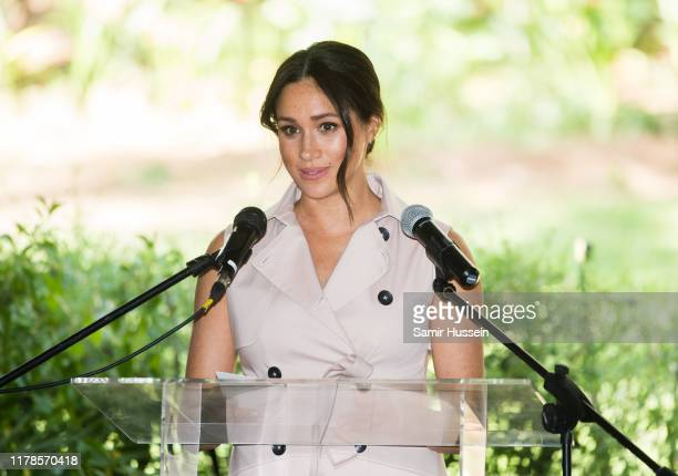 Meghan Duchess of Sussex gives a speech as she visits the British High Commissioner's residence to attend an afternoon reception to celebrate the UK...