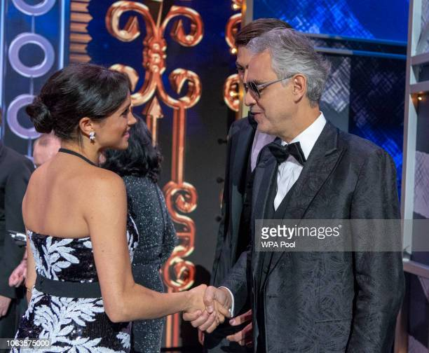 Meghan Duchess of Sussex greets Andrea Bocelli at The Royal Variety Performance 2018 at London Palladium on November 19 2018 in London England