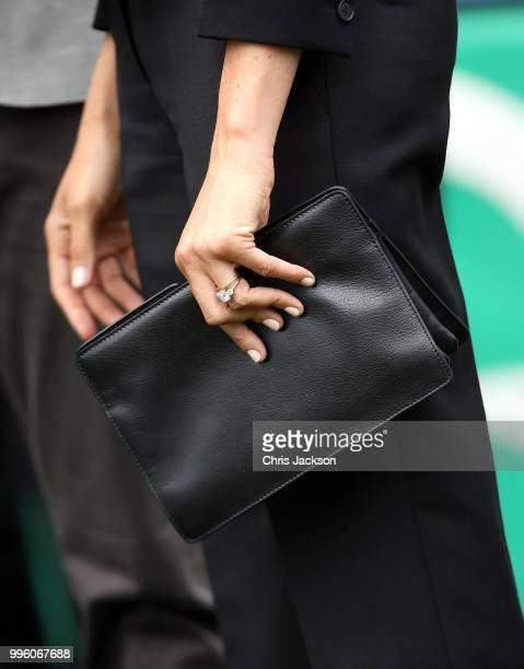 Meghan Duchess of Sussex handbag detail at Croke Park home of Ireland's largest sporting organisation the Gaelic Athletic Association during her...