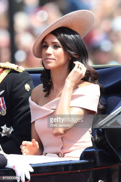 Meghan Duchess of Sussex heading back to Buckingham Palace during Trooping The Colour on the Mall on June 9 2018 in London England The annual...