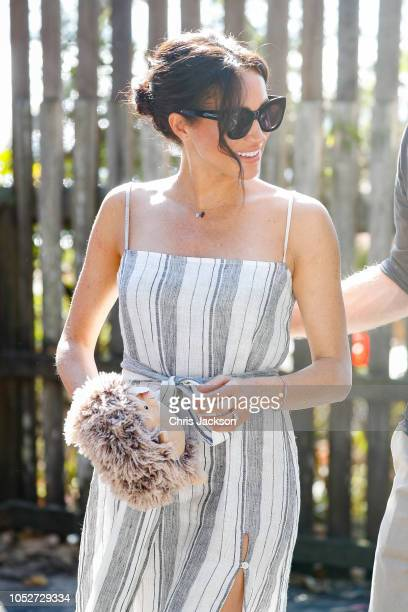 Meghan Duchess of Sussex holding echidna plush toy in Kingfisher bay on October 22 2018 in Fraser Island Australia The Duke and Duchess of Sussex are...