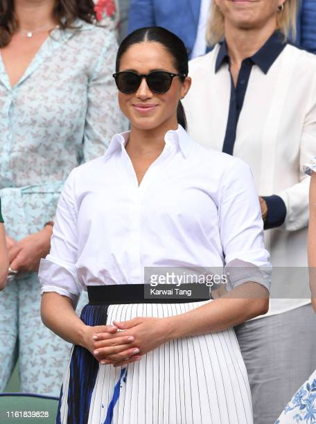 Meghan, Duchess of Sussex in the Royal Box on Centre Court during day twelve of the Wimbledon Tennis Championships at All England Lawn Tennis and...