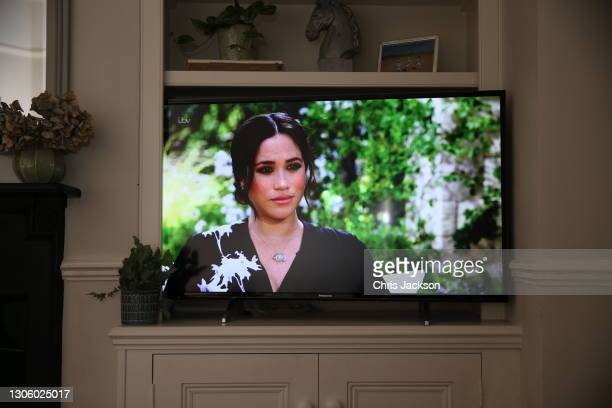 Meghan, Duchess of Sussex is interviewed by Oprah Winfrey on British Television on March 08, 2020 in London, England. The interview first aired in...