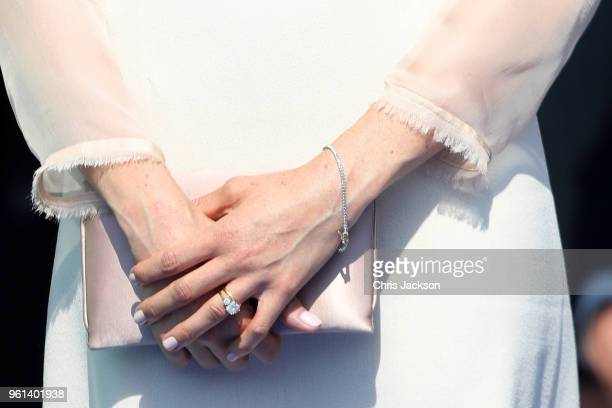 Meghan Duchess of Sussex jewellery detail attends The Prince of Wales' 70th Birthday Patronage Celebration held at Buckingham Palace on May 22 2018...
