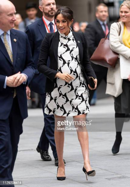 Meghan Duchess of Sussex joins a panel discussion convened by The Queens Commonwealth Trust to mark International Womens Day at King's College London...