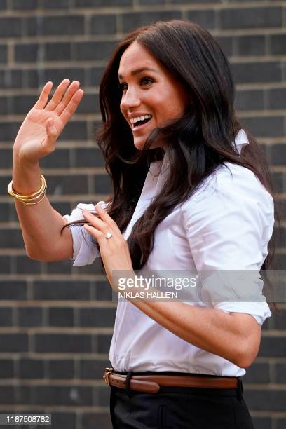Meghan Duchess of Sussex leaves after launching the Smart Works capsule collection in London on Septemeber 12 2019 Created in September 2013 Smart...