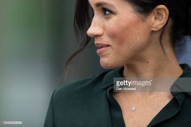 Meghan Duchess of Sussex leaves the University of Chichester's Engineering and Digital Technology Park after an official visit to West Sussex on...