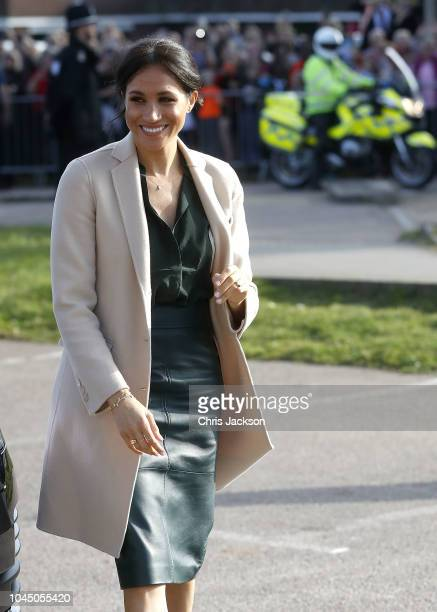 Meghan Duchess of Sussex makes an official visit to the Joff Youth Centre in Peacehaven Sussex on October 3 2018 in Chichester United Kingdom The...