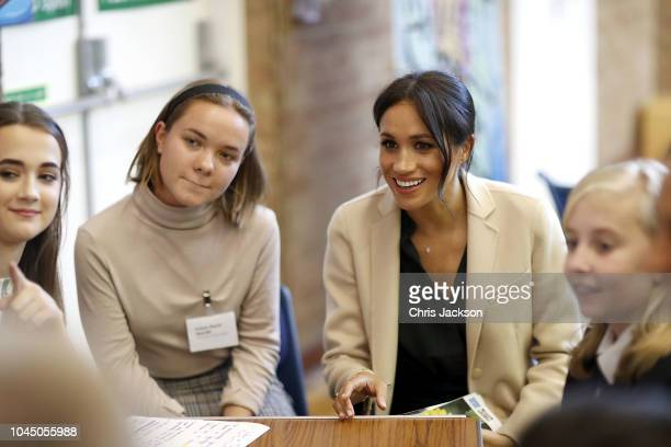 Meghan, Duchess of Sussex makes an official visit to the Joff Youth Centre in Peacehaven, Sussex on October 3, 2018 in Peacehaven, United Kingdom....