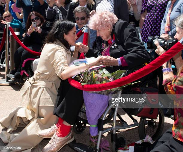 Meghan Duchess of Sussex meets 98 year old Daphne Dunne during a meet and greet at the Sydney Opera House on October 16 2018 in Sydney Australia The...