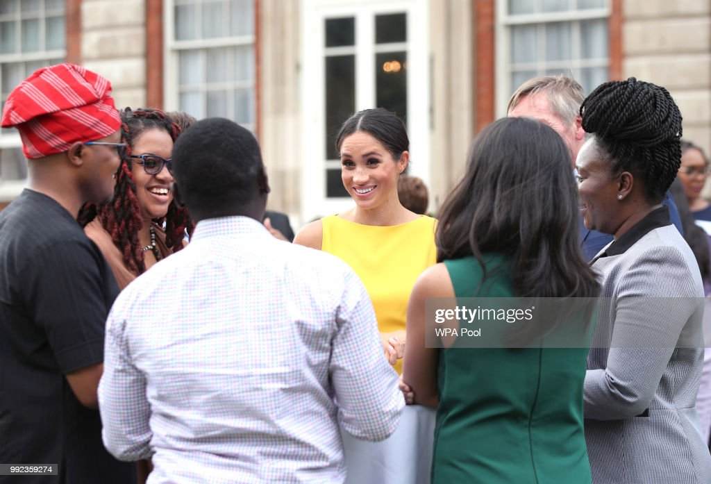 Meghan, Duchess of Sussex meets guests during the Your Commonwealth Youth Challenge reception at Marlborough House on July 05, 2018 in London, England.