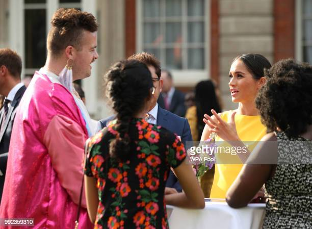 Meghan Duchess of Sussex meets guests during the Your Commonwealth Youth Challenge reception at Marlborough House on July 05 2018 in London England