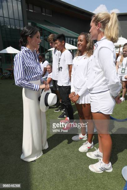Meghan Duchess of Sussex meets junior players Whitney Osuigwe of the United States and Caty McNally of the United States during a visit to the...