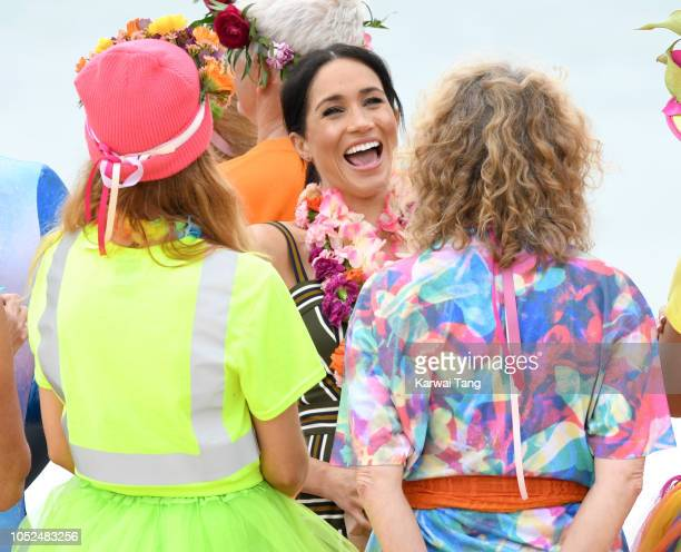 Meghan Duchess of Sussex meets local surfing community group OneWave in Bondi Beach on October 19 2018 in Sydney Australia The Duke and Duchess of...