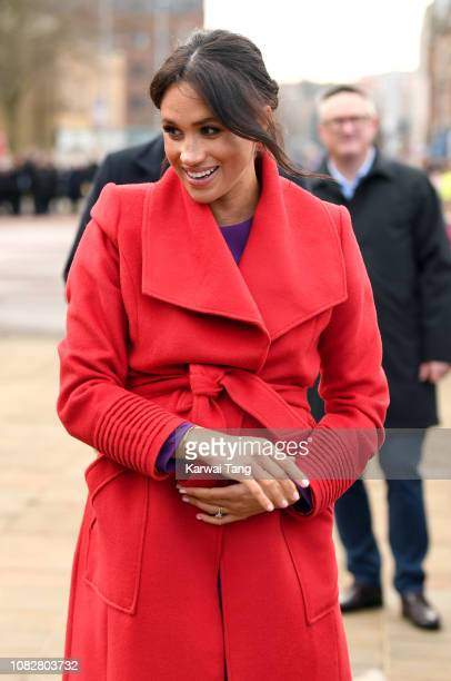 Meghan, Duchess of Sussex meets members of the public during a visit of Birkenhead at Hamilton Square on January 14, 2019 in Birkenhead, UK.