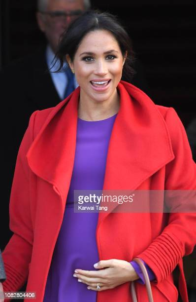 Meghan Duchess of Sussex meets members of the public during a visit of Birkenhead at Hamilton Square on January 14 2019 in Birkenhead UK