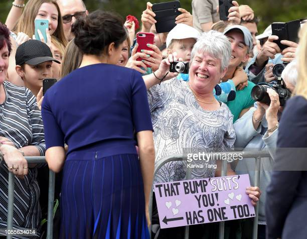 Meghan Duchess of Sussex meets members of the public on a walkabout on October 31 2018 in Rotorua New Zealand The Duke and Duchess of Sussex are on...