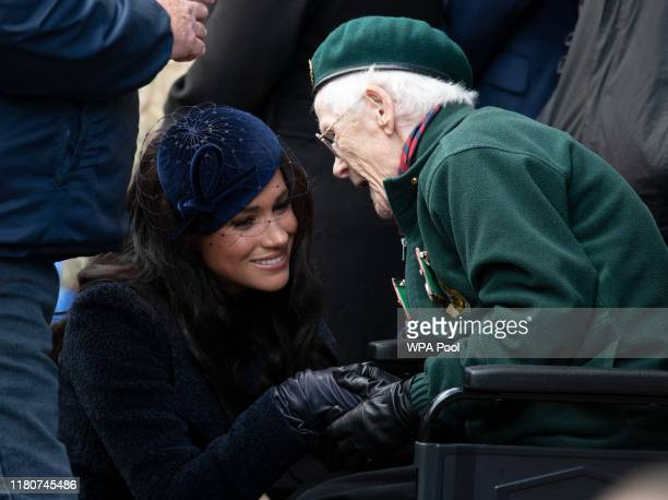 Meghan, Duchess of Sussex meets veterans and soldiers as she attends the 91st Field of Remembrance at Westminster Abbey on November 7, 2019 in...