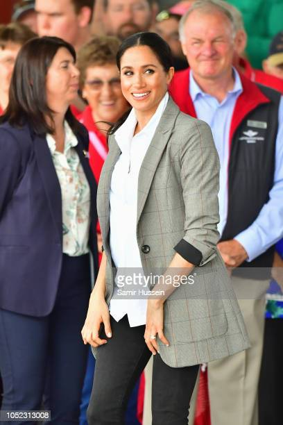 Meghan Duchess of Sussex meets with local community members as she visits the Royal Flying Doctors Service at Dubbo Airport on October 17 2018 in...