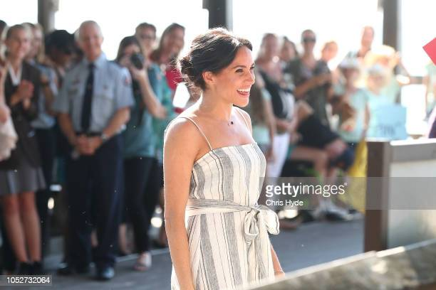 Meghan Duchess of Sussex meets with people along Kingfisher bay walk about on October 22 2018 in Fraser Island Australia The Duke and Duchess of...