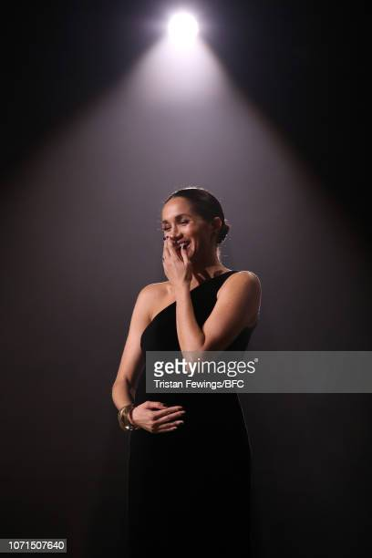 Meghan Duchess of Sussex on stage during The Fashion Awards 2018 In Partnership With Swarovski at Royal Albert Hall on December 10 2018 in London...